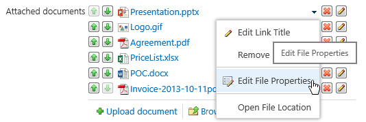 Sparqube Document Column contextual properties editing